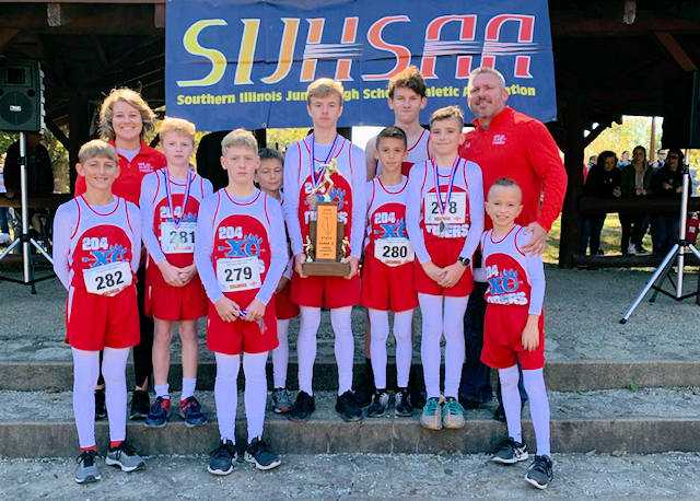 2019 SIJHSAA Boys Cross Country Class S 2nd Place Pinckneyville Consolidated 204
